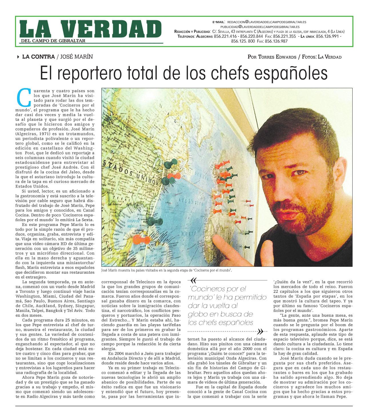 Entrevista a Pepe Marín en LA VERDAD del Campo de Gibraltar