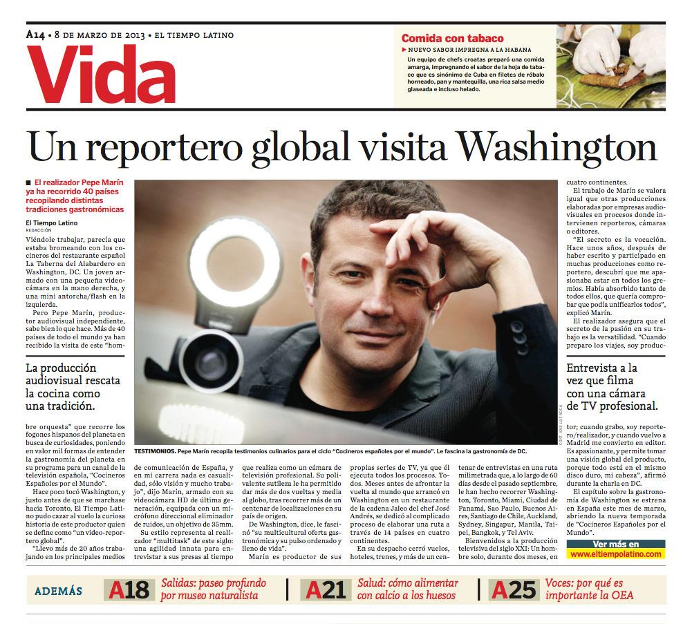Reportaje Pepe Marín en El tiempo Latino, del Washington Post